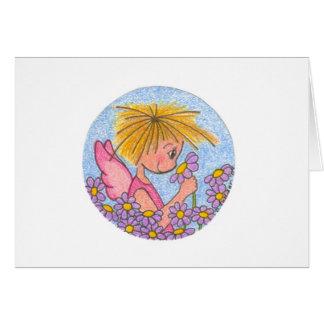 Little Angel with Purple Flowers Card