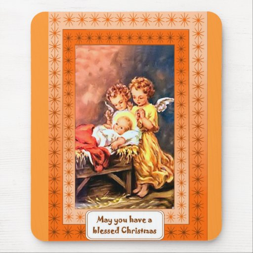 Little angels at the manger mousepads