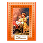 Little angels at the manger postcard