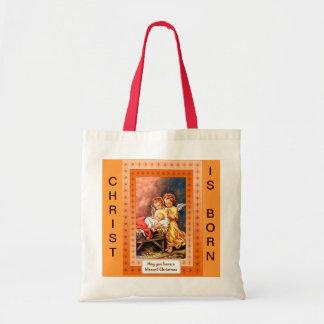 Little angels at the manger tote bag