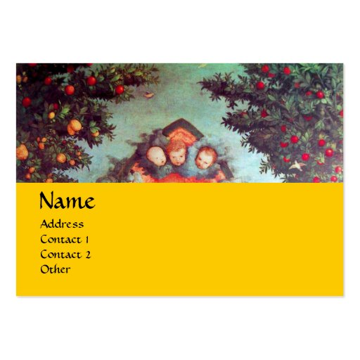 LITTLE ANGELS MONOGRAM antique blue red yellow Large Business Cards (Pack Of 100)