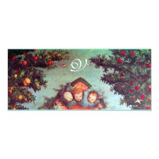 LITTLE ANGELS MONOGRAM bright antique blue pink Card
