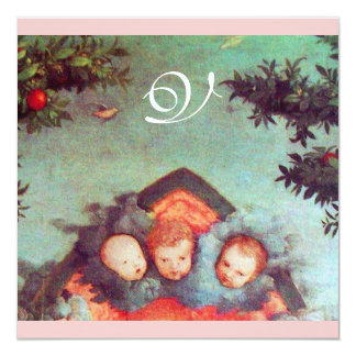 LITTLE ANGELS MONOGRAM bright antique blue pink 5.25x5.25 Square Paper Invitation Card