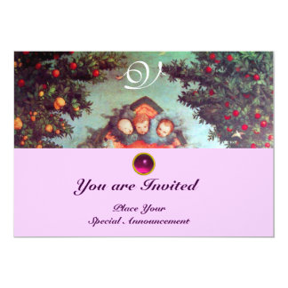 LITTLE ANGELS MONOGRAM bright antique blue pink 5x7 Paper Invitation Card