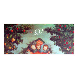 LITTLE ANGELS MONOGRAM bright antique blue red 4x9.25 Paper Invitation Card