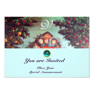 LITTLE ANGELS MONOGRAM bright antique blue red 5x7 Paper Invitation Card