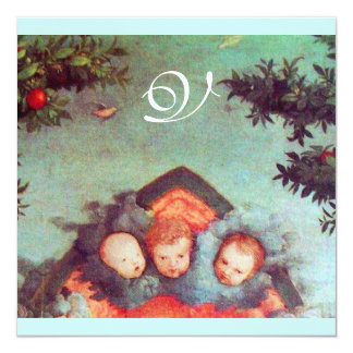 LITTLE ANGELS MONOGRAM bright antique blue red 5.25x5.25 Square Paper Invitation Card