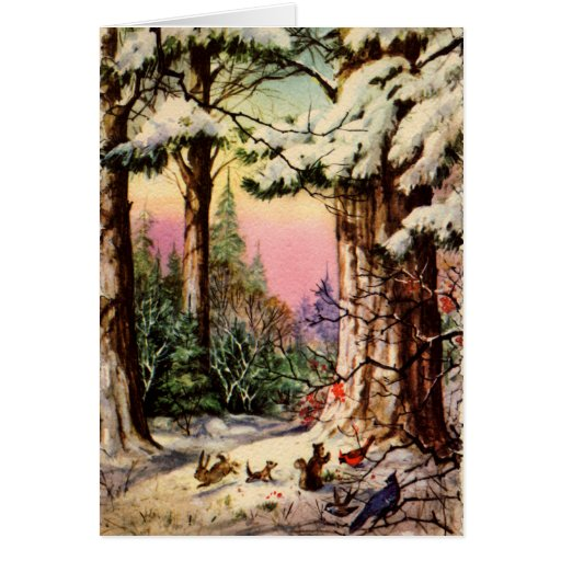 Little Animals in the Snow Card