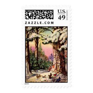 Little Animals in the Snow Stamp