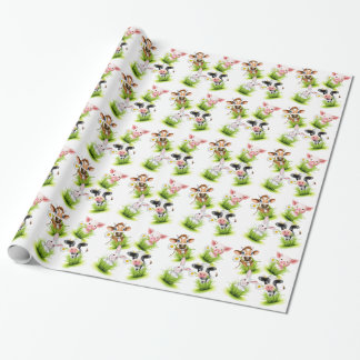 Little animals on grass gift wrap paper