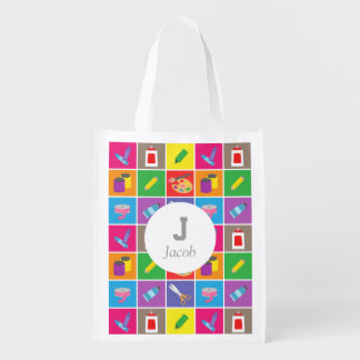 Little Artist Arts Crafts Colourful Pattern Kids Reusable Grocery Bag