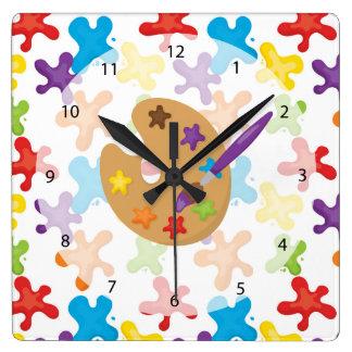 Little artist pattern square wall clock