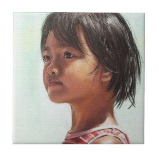Little Asian Girl digital portrait painting Ceramic Tile