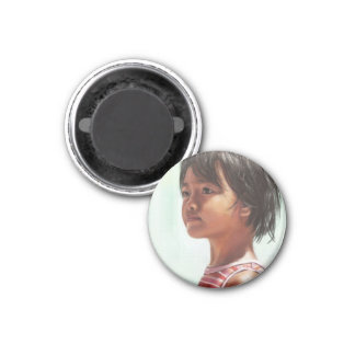 Little Asian Girl digital portrait painting Magnet