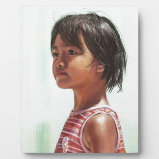 Little Asian Girl digital portrait painting Display Plaques