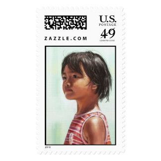 Little Asian Girl digital portrait painting Postage Stamps
