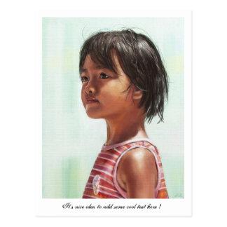 Little Asian Girl digital portrait painting Postcard