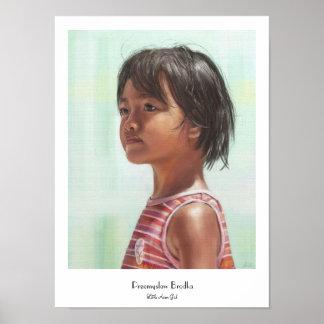 Little Asian Girl digital portrait painting Poster