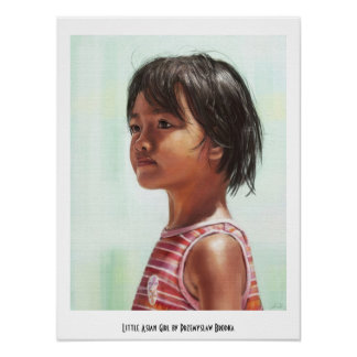 Little Asian Girl digital portrait painting Poster