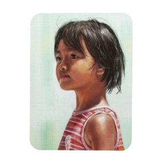 Little Asian Girl digital portrait painting Rectangular Photo Magnet