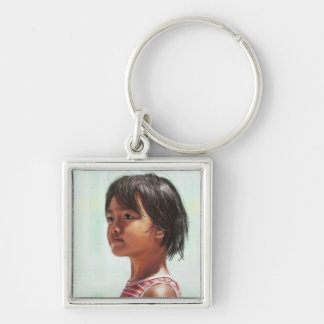 Little Asian Girl digital portrait painting Silver-Colored Square Keychain