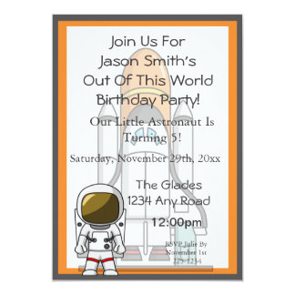 Little Astronaut & Spaceship Birthday Card