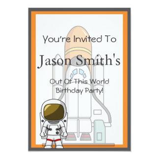 Little Astronaut & Spaceship Birthday 5x7 Paper Invitation Card