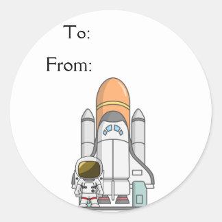 Little Astronaut & Spaceship Classic Round Sticker