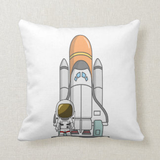 Little Astronaut & Spaceship Throw Pillow