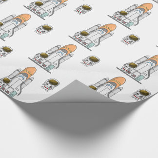 Little Astronaut & Spaceship Wrapping Paper