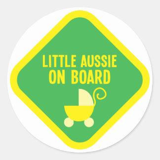 Little Aussie on Board on a sign Classic Round Sticker