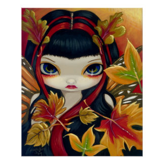 Little Autumn Leaves ART PRINT fall fairy