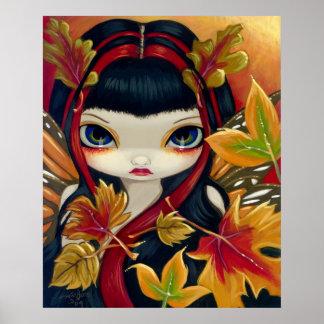 Little Autumn Leaves ART PRINT fall fairy