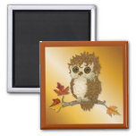 Little Autumn Whoo Owl 2 Inch Square Magnet
