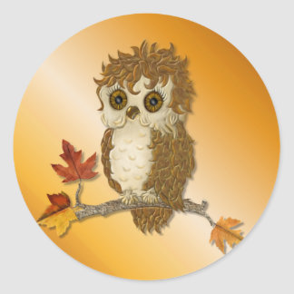 Little Autumn Whoo Owl Classic Round Sticker