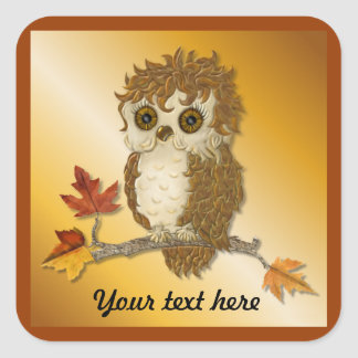 Little Autumn Whoo Owl Square Sticker