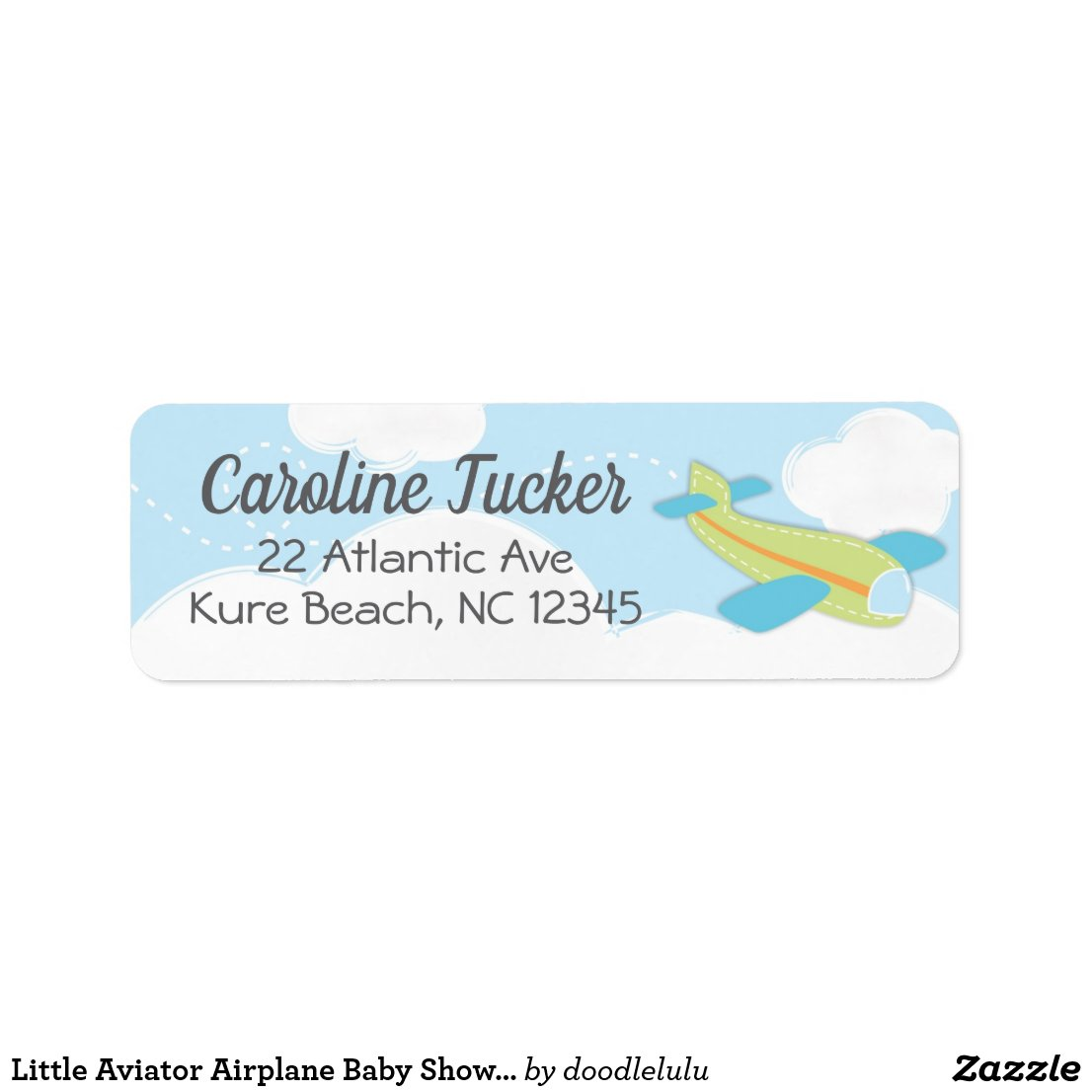 Little Aviator Airplane Baby Shower Address Label
