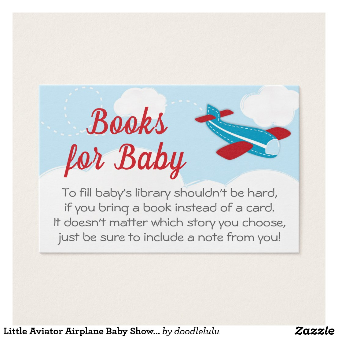 Little Aviator Airplane Baby Shower Book Request