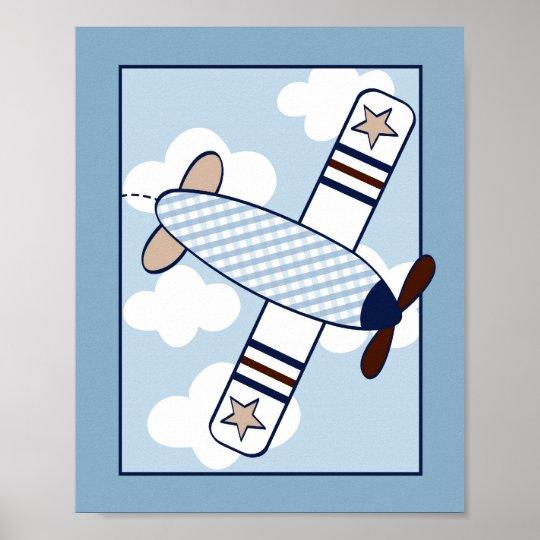 Little Aviator Airplane Nursery Wall Art Print