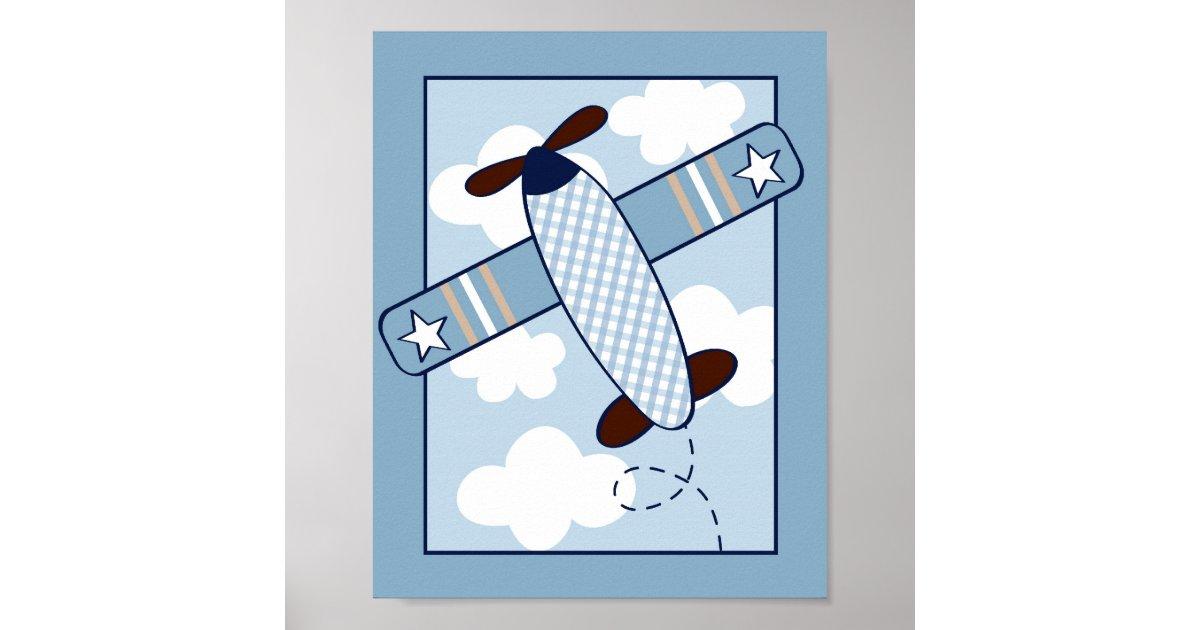 Airplane Wall Decor Nursery : Little aviator airplane nursery wall art print zazzle