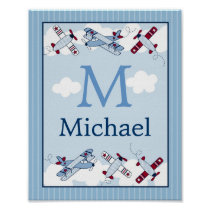 Little Aviator Airplane Wall Art Name Print