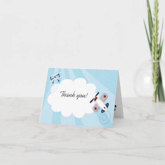 little aviator boy thank you note card size zazzle com