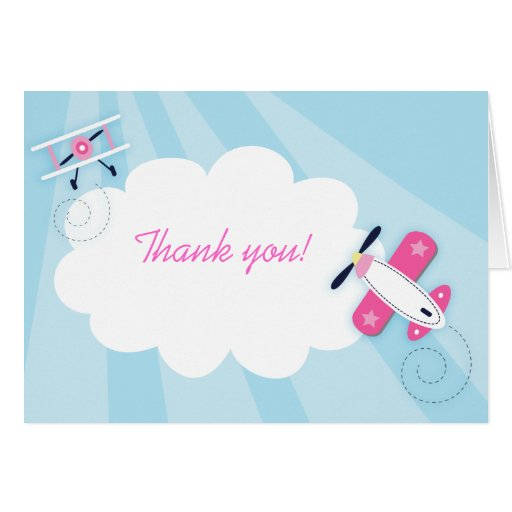 Little Aviator Pink Girl Thank you Note Card size