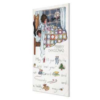 Little Awaken Girl Spies Santa and Sleigh Canvas Print