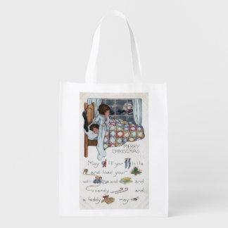 Little Awaken Girl Spies Santa and Sleigh Grocery Bag