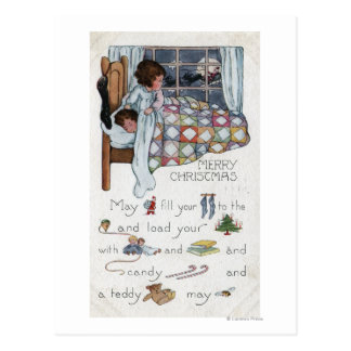 Little Awaken Girl Spies Santa and Sleigh Postcard
