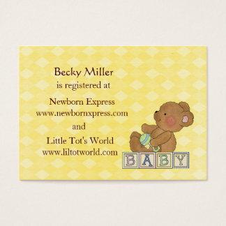 Little Baby Bear Baby Shower Registry Card Set