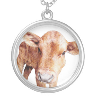 Little Baby Brown Cow Round Pendant Necklace