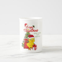 Little Baby Chicken Christmas Bone China Mug