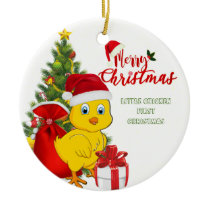 Little Baby Chicken Christmas Ceramic Ornament